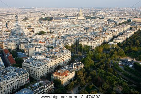 Paris from the Eiffel Tower: Les Invalides and Parc du Champ de Mars