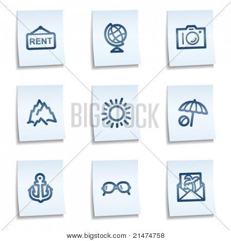 Travel web icons set 5, blue notes