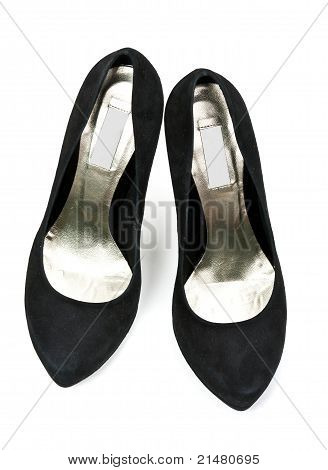 Pair Of Black Suede Women's High Heel Shoes