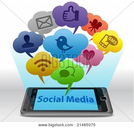 Meios de comunicação sociais em Smartphone
