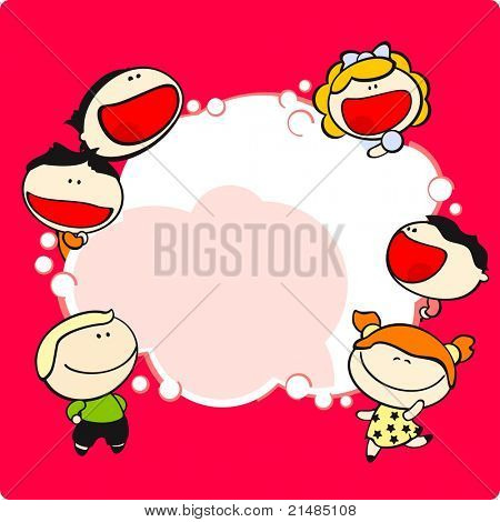 Funny kids and thinking bubble (raster version)