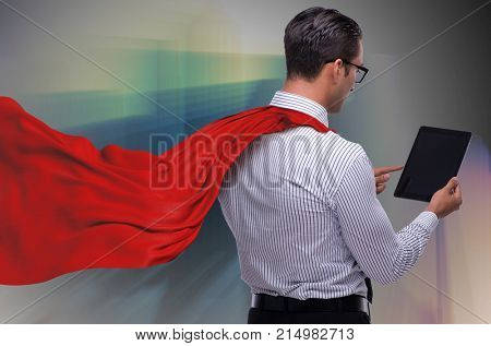 Man in red cover protecting