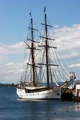 stock photo of yardarm  - A sailing ship alongside in Oslo harbour Norway - JPG