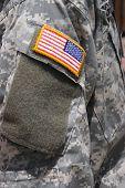Flag Patch On Iraq War Soldier Uniform