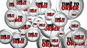 Time to Order Clocks Flying Buy Now 3d Illustration poster