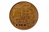 Bitcoin. Physical Bit Coin. Digital Currency. Cryptocurrency Mining Concept. Golden Coin With Bitcoi poster