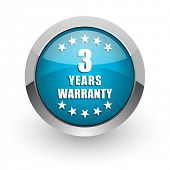 Warranty guarantee 3 year blue silver metallic chrome border web and mobile phone icon on white back poster