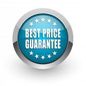 Best price guarantee blue silver metallic chrome border web and mobile phone icon on white backgroun poster