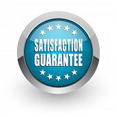 Satisfaction guarantee blue silver metallic chrome border web and mobile phone icon on white backgro poster