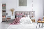 Master Bedroom With Buttoned Headboard poster