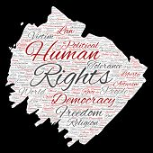 Conceptual human rights political freedom, democracy paint brush paper word cloud isolated backgroun poster
