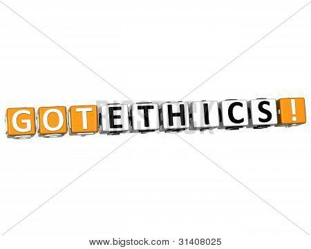 3D Got Ethics Cube Text