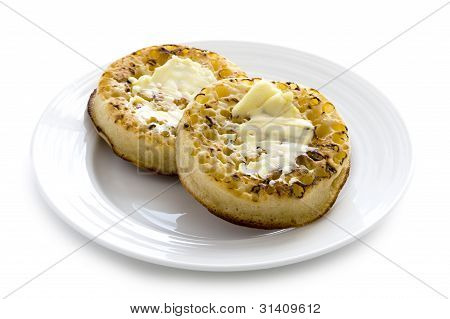Hot Toasted Crumpets With Butter
