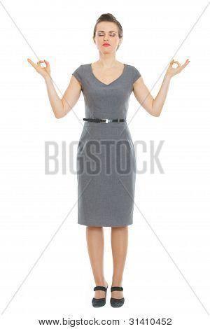 Modern Business Woman Meditating