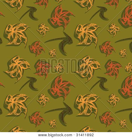 Green Seamless Background With Original Elements