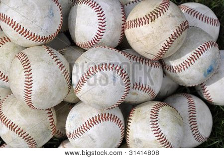 Pile Of Old Baseballs