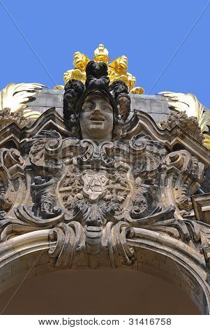Close-up on the statue of a German elector in Dresden, Germany