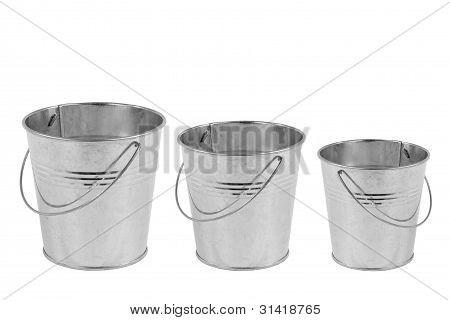 Three Metal Buckets