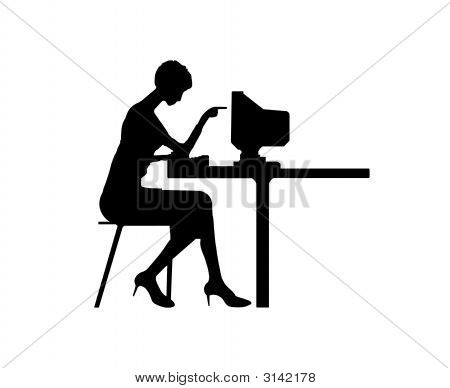Women Typing At A Computer
