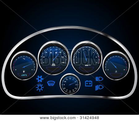 Vector Realistic Car's Dashboard