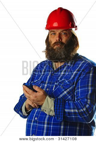 Bearded man in hard hat