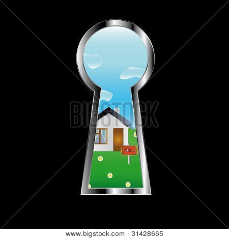 The house in a door peephole