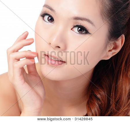 Beauty Skin Care Woman Smile And Touching Her Face