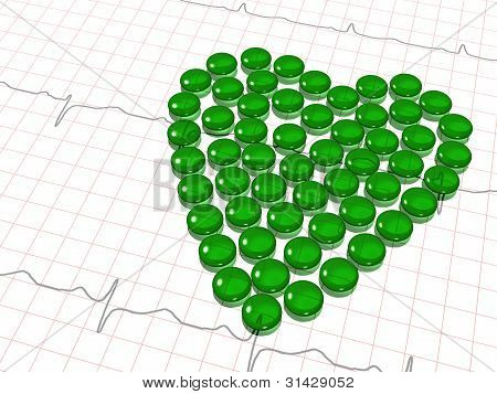 green transparent hearth of capsules