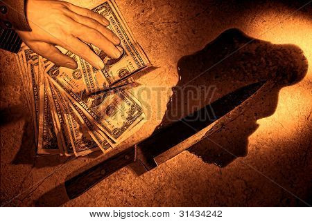 Crime Scene With Money Off Dead Man Hand And Knife