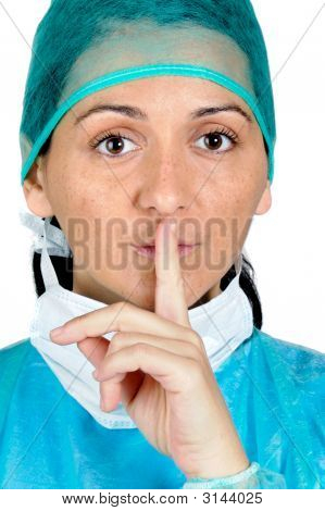 Lady Doctor Gesture Asks Silence