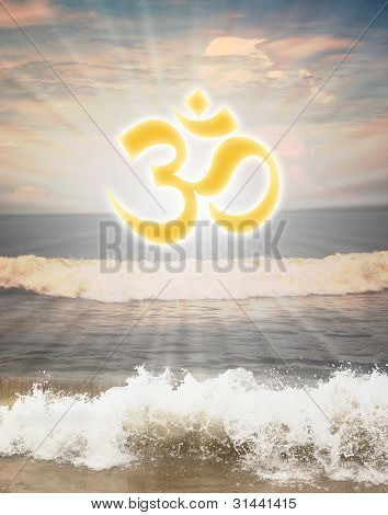 Hindu Religious Symbol Om Or Aum Against Sun Shine