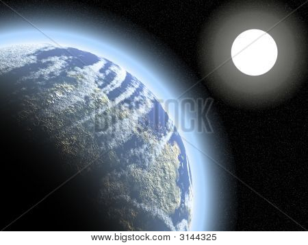 Earthlike Planet And Distant Sun