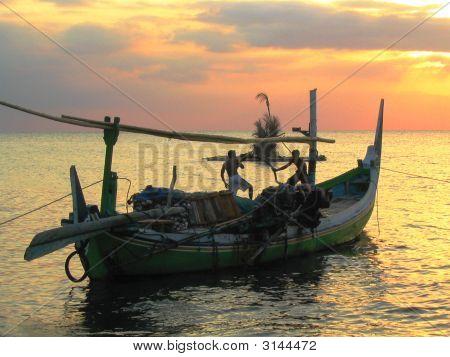 Fishing During Sunset In Bali