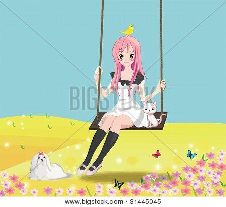 Cute Girl On The Swing