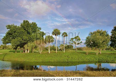 Rainbow over a golf course