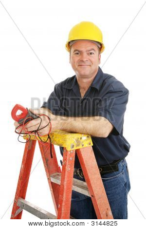 Friendly Electrician Isolated