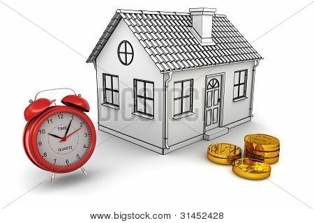 Model home red alarm clock stack of gold dollar coins