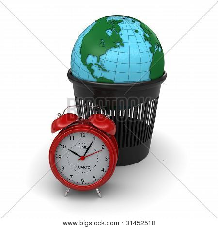 Green Earth in the trash. Red alarm clock