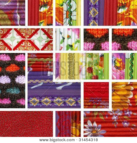 Collage Of Pieces Of Fabric