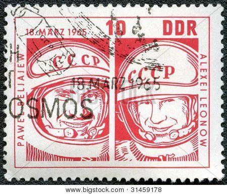 Ggermany - Circa 1965: Shows Col. Pavel Belyayev And Lt. Col. Alexei Leonov, Space Flight Of Voskhod