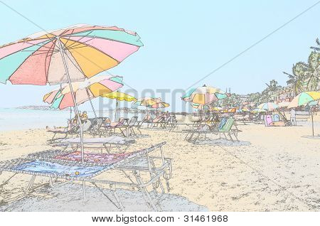 Sunny beach with loungers and umbrellas