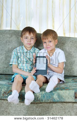 Two Reading Boys. With Electronic Book