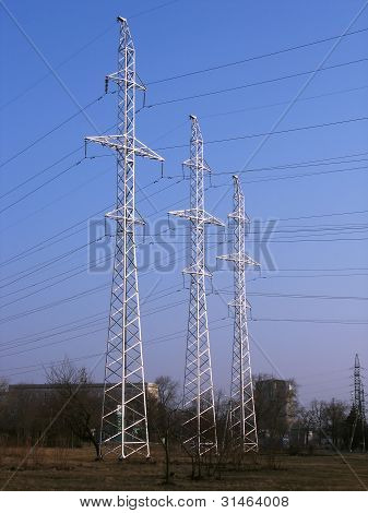 High-voltage Power Line Metal Tower With Wires