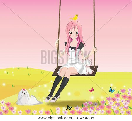 Cute girl on the swing (Pink BG)