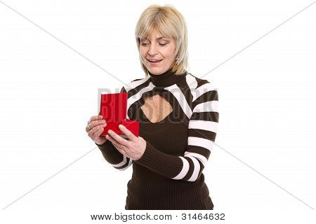 Surprise Middle Age Woman Opening Present Box