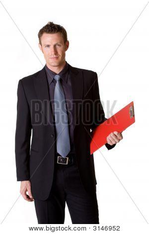 Caucasian Business Man Holding A Clip Board