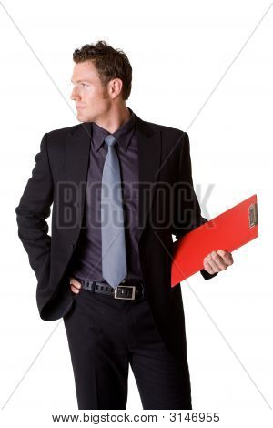 Caucasian Business Man Holding A Clip Board