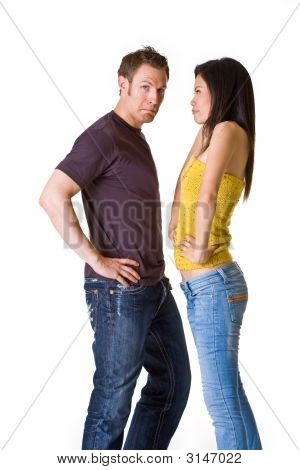 Caucasian Man Get Scolded By His Asian Girlfriend