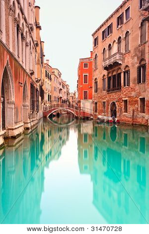 Venice, Canal With Bridge Detail. Long Exposure Photography.
