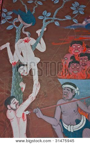 The Mural Painting Of A Lover Torturing In Hell, In Thai's Believes